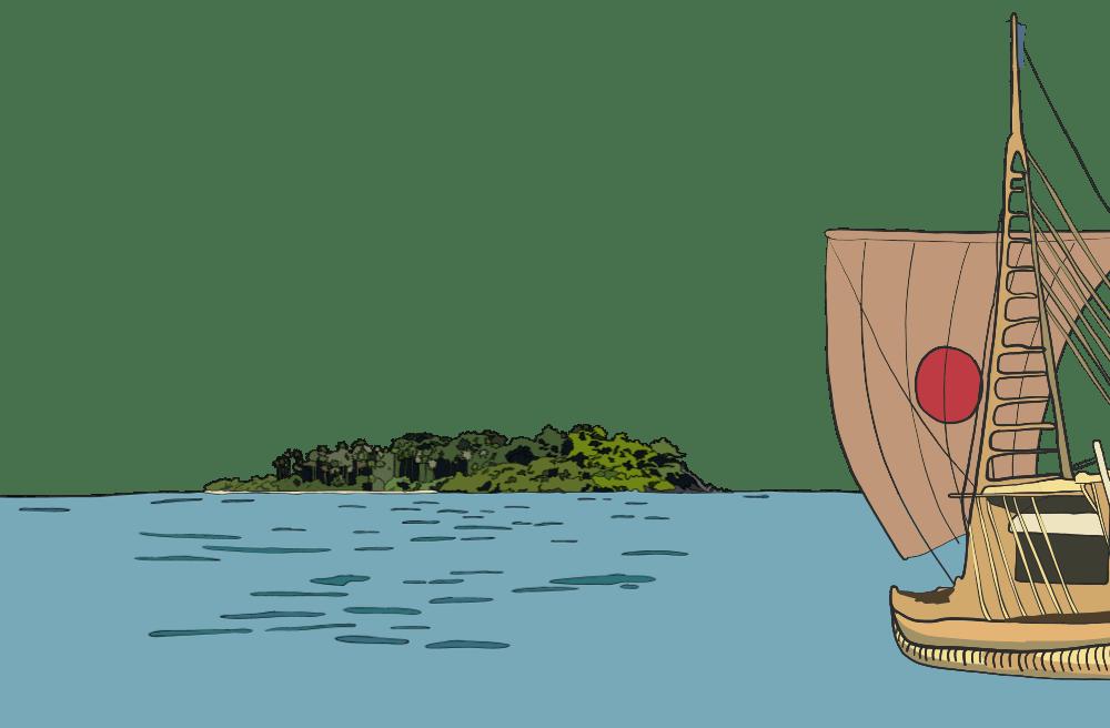 Kontiki Arrives at the Island