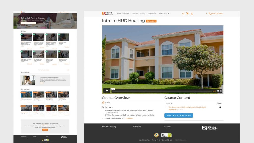 E3 Housing website design by L7 Creative